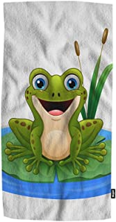Mugod Green Frog Hand Towel Cartoon Frog on a Leaf in The Pond Highly Absorbent Ultra Soft Multipurpose Use for Hand Face Gym Sport 15
