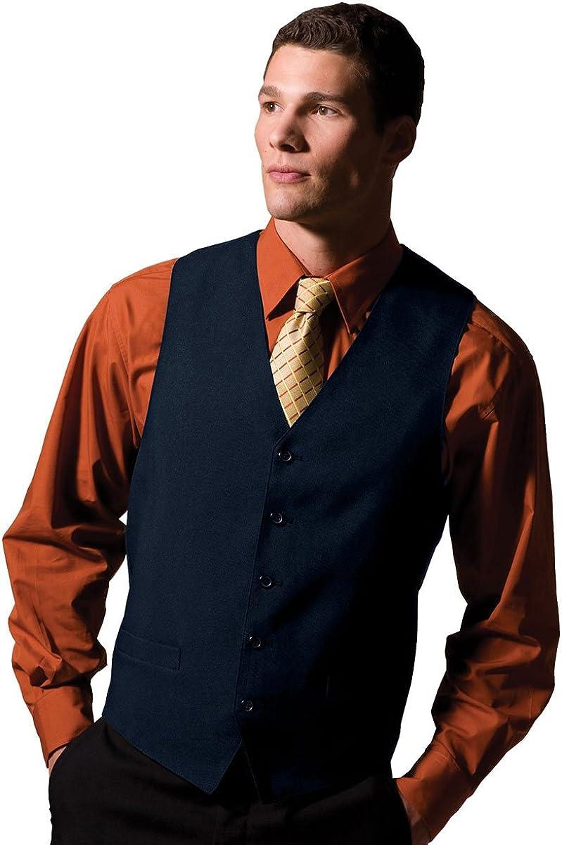 Ed Garments Men's Textured Weave Fully Lined Economy Vest, DARK NAVY, M T