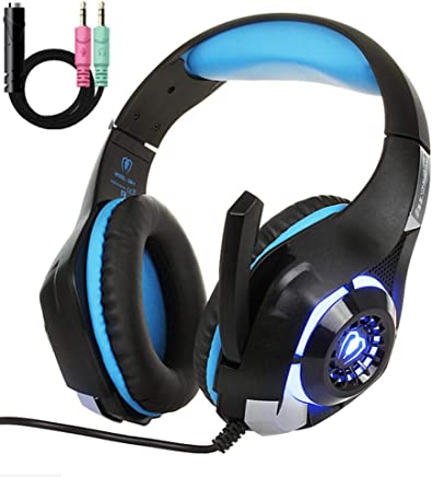 ZYCH Cuffie da Gioco per PS4 PC Xbox One,Cuffie con Illuminazione LED per Giochi Stereo,Cuffie con Cancellazione del Rumore con Controllo del Volume del Microfono(Incluso Splitter da 3,5 Mm),Blue - Trova i prezzi più bassi