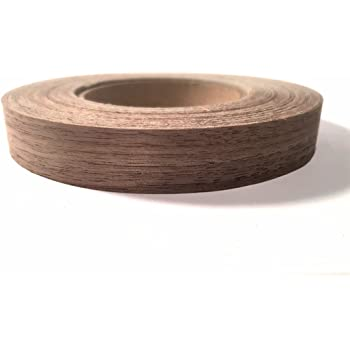 "Edge Supply Walnut 7/8"" x 25' Roll Preglued, Wood Veneer Edge Banding, Iron on with Hot Melt Adhesive, Flexible Wood Tape Sanded to Perfection. Easy Application Wood Edging, Made in USA."
