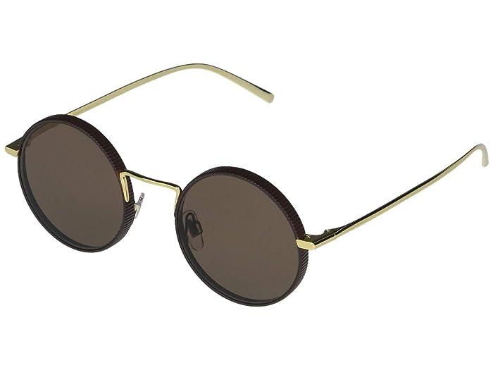 Dolce and Gabbana  DG2246 (Gold/Matte Brown/Brown) Fashion Sunglasses