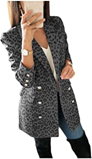 Howely Womens Leopard Print Coat Jacket Lapel Outwear Small Blazer
