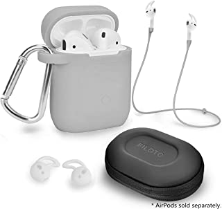 Airpods Accessories Set, Filoto Airpods Waterproof Silicone Case Cover with Keychain/Strap/Earhooks/Accessories Storage Travel Box for Apple Airpod (Gray)