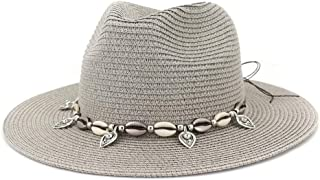 Outdoor Bucket Sun Hat Summer Women's Straw Sun Hat Party Shell Fringe Jazz Cap Vacation Sun Hat Floppy Hat Wheat Straw Hat (Color : Gray, Size : 56-58CM)