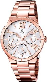 F16718/1 - Reloj de cuarzo para mujer, con correa de acero inoxidable chapado, color oro rosa
