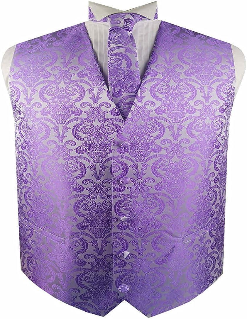 ME&SLEEVE Men's 4pc Classic Paisley Waistcoat Necktie Bowtie Pocket Square for Wedding Suit/Tuxedo