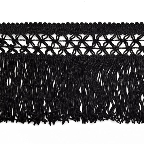 """4"""" Knotted Chainette Fringe for Home Deco, Lamp Shade, Costume, Black, 1 yard, SP-2120"""