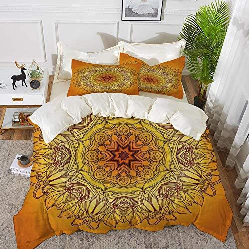 ropa de cama - Juego de funda nórdica, Mandala amarilla, Marco vintage abstracto Decoración antigua árabe antigua Figura de henna Decorat, Juego de funda nórdica de microfibra hipoalergénica con 2 fun