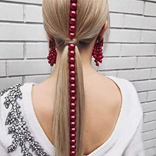 Aimimier Bridal Red Pearl Hair Chain Hair Extensions Head Chain Bridal Headpiece Prom Party Festival Hair Accessories for ...