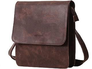 Leathario Men's Leather Shoulder Bag Messenger Bag Crossbody Bag 11 inch Ipad Bag Satchel Bag Brown (brown-605)