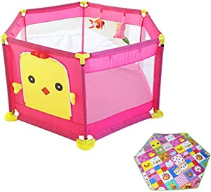 LXDDP Playpen Baby Playpen with Mattress  Safety Toddlers Playard for Activity Center  Anti-rollover Room Divider  Pink  128 64cm