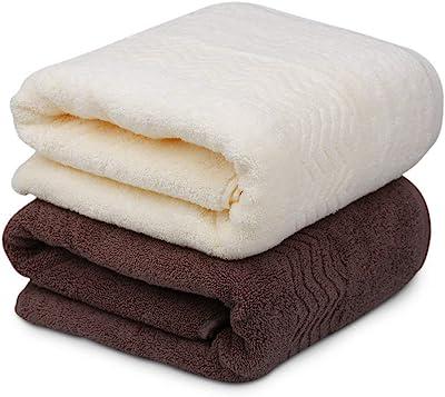 KISENG バスタオル 2枚セット ホテルスタイル 大判バスタオル 綿100% 優しい肌触り 70×140cm