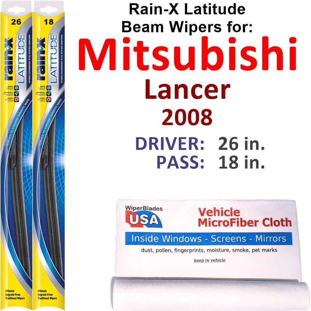Rain-X Latitude Beam Wiper Blades for Ranking TOP5 Lancer 2008 low-pricing Set Mitsubishi