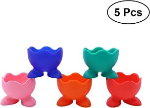 BESTONZON 5Pcs Silicone Cute Egg Cup Holders Boiled Egg Cups Set Egg Serving Cups (Color)