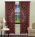 DIYANA IMPEX Indian Mandala Curtain Kitchen Window Curtains Curtain & Valance Set Dorm Tapestry,Indian Drape Balcony Room Decor Curtain Boho Set Hippie Curtain Panel (Blue Multi)