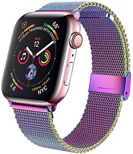 M MOUKOU Cinturini di Ricambio compatibili con Apple Watch, 38 mm, 40 mm, Cinturino Regolabile in Rete in Acciaio Inox per iWatch Serie SE/6/5/4/3/2/1