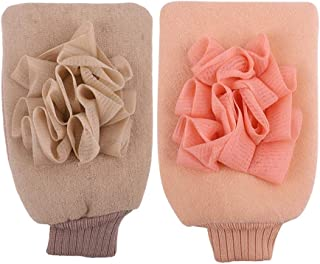 Unisex Bathing Gloves Double-Sided Coarse Sand Strong Exfoliating Bath Gloves Protection (Color : Pink+Beige)