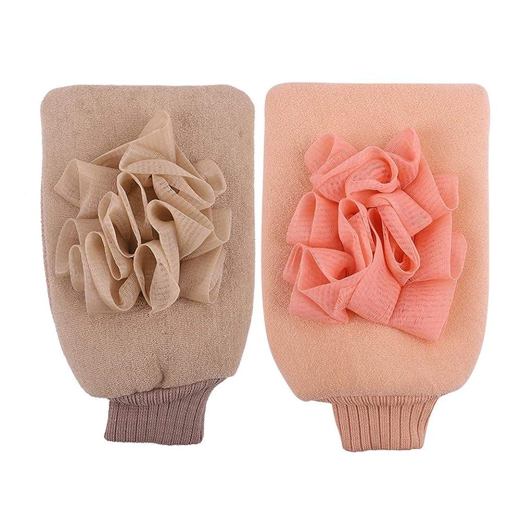抽象金額演劇BTXXYJP お風呂用手袋 シャワー手袋 あかすり手袋 ボディブラシ やわらか ボディタオル バス用品 男女兼用 角質除去 (Color : Pink+beige)