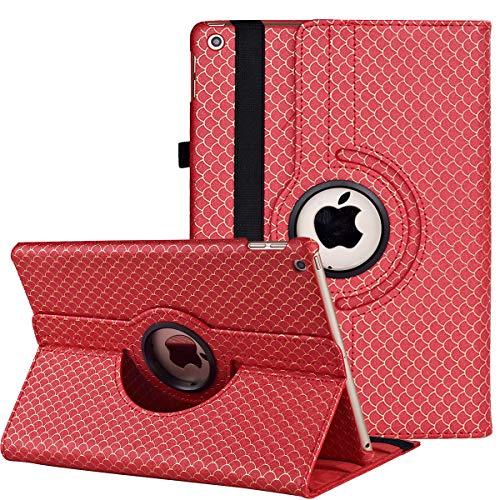 """Funda para Nuevo iPad 9ª Generación 10.2"""" 2021 (10.2 Pulgadas)/iPad 8ª Gen 2020/iPad 7ª Gen 2019 – 360 Grados Giratorio Funda Protectora con Función de Encendido/Apagado Automático (Red Mermaid)"""
