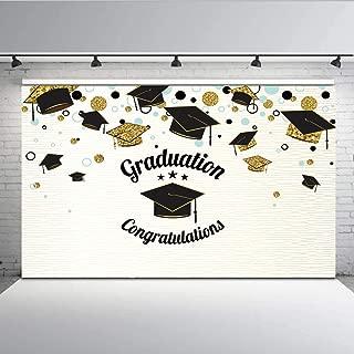 Graduation Congratulations Photography Backdrop Golden Black Graduation Cap Graduated Supplies 2019 Photo Background Photoshoot Studio Props Vinyl 7x5ft W-1415