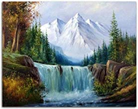 Paint by Numbers for Kids & Adults Home Decoration Crafts Snow Mountain Waterfall Painting On Canvas Numbers Kit with Brushes and Acrylic Pigmen 16X20inch unframed