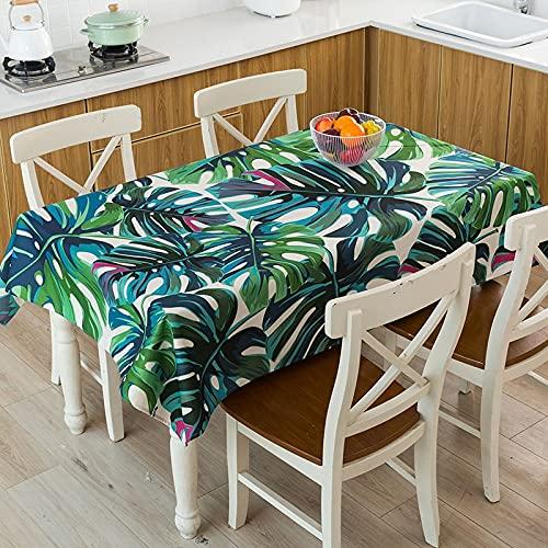 XXDD Mantel geométrico de Hojas de Plantas Tropicales Impermeable, a Prueba de Polvo, Cubierta de Mantel Lavable para manteles de Restaurante A9 140x180cm