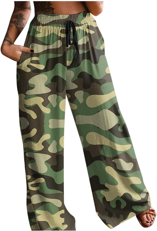 iCODOD Boho Pants for Women Casual Loose Pants Cozy House Pants Work Pants Fashion Print Elastic Waist Pants for Beach