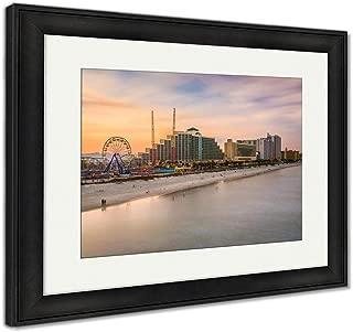 Ashley Framed Prints Daytona Beach Skyline, Wall Art Home Decoration, Color, 34x40 (Frame Size), Black Frame, AG32239133