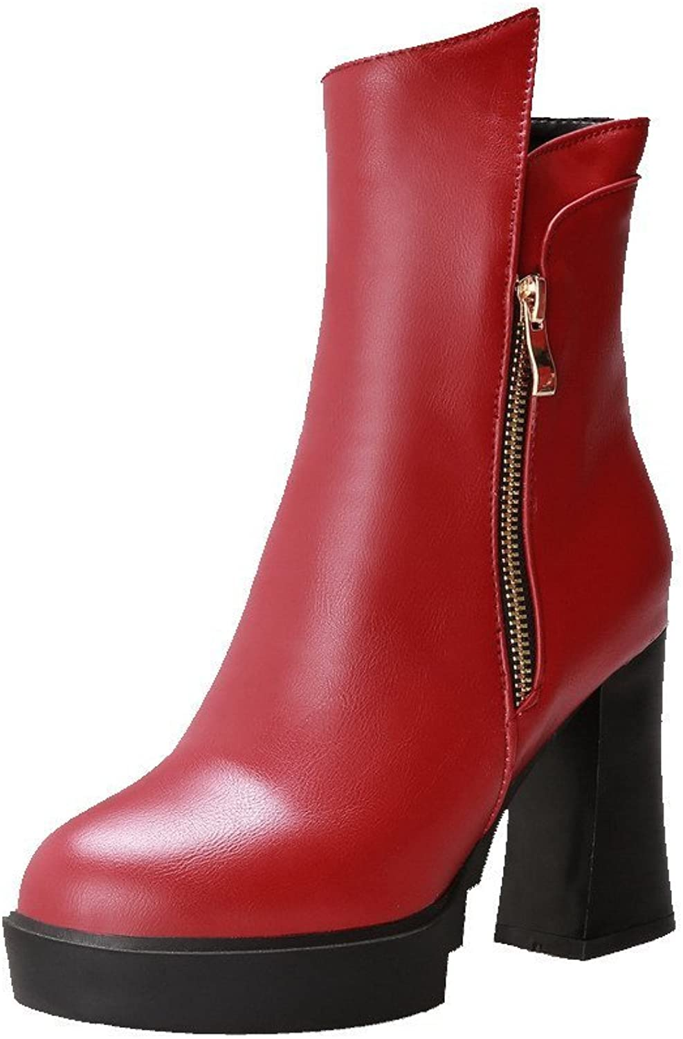 Laolaooo shoes Women's PU High-Heels Closed Round Toe Solid Zipper Boots Red9.5 B(M) US