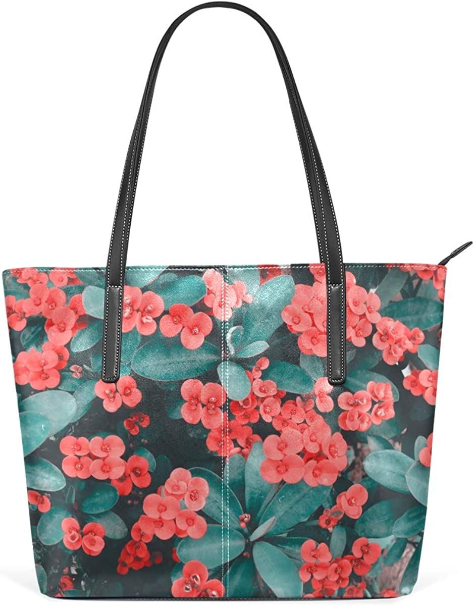 New mail order OFFicial shop Beautiful Bloom Flower PU Leather Bag Tote for Women High-capac