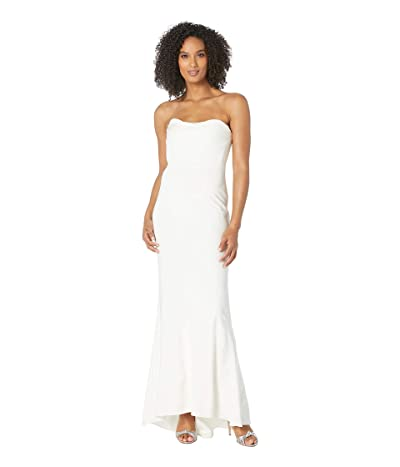 Adrianna Papell Knit Sweetheart Neckline Strapless Evening Gown (Ivory) Women