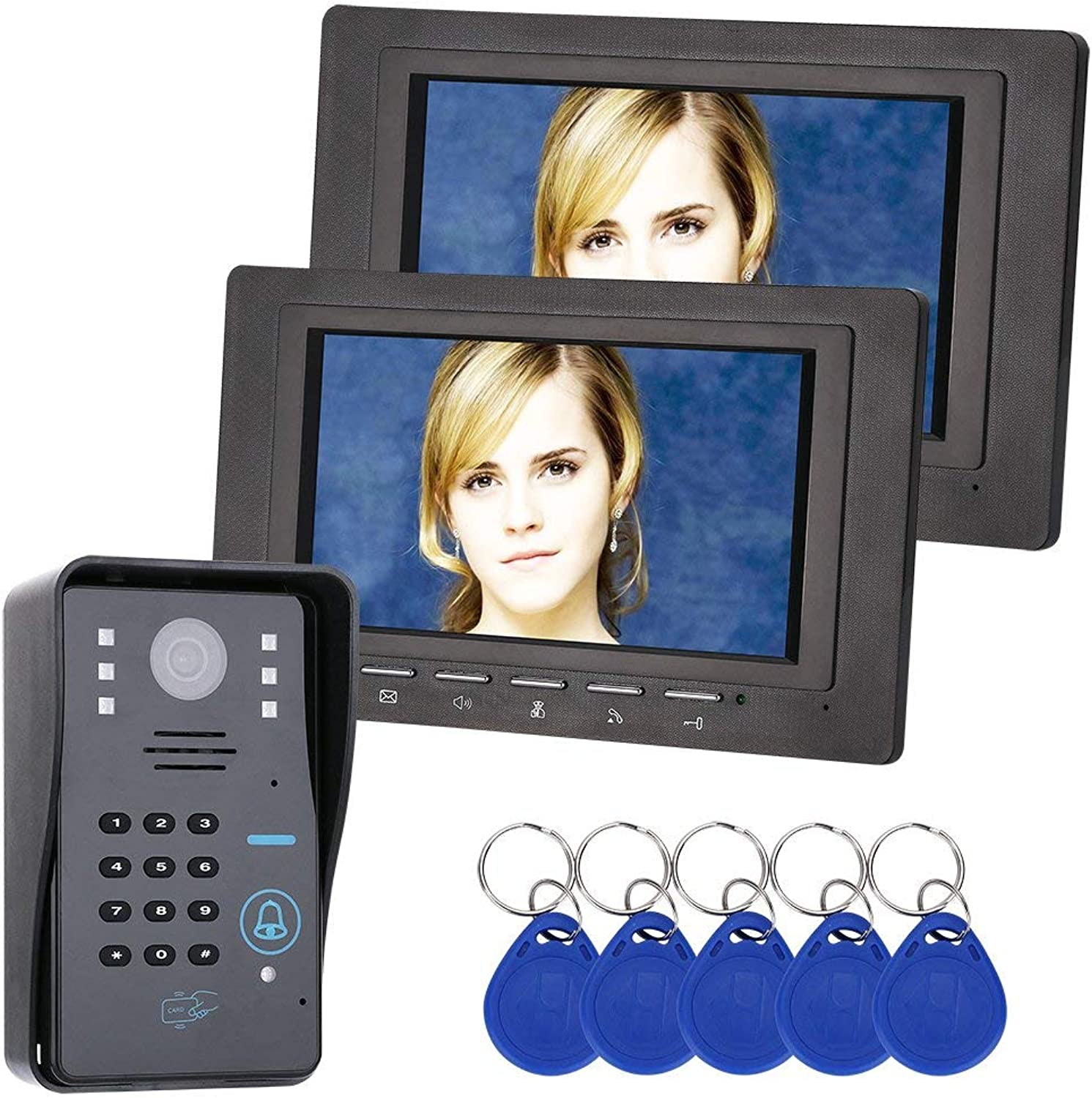 ZHANG 7 inch 2 Monitor RFID Password Video Door Phone Intercom Doorbell With IR Camera 1000 TV Line Access Control System