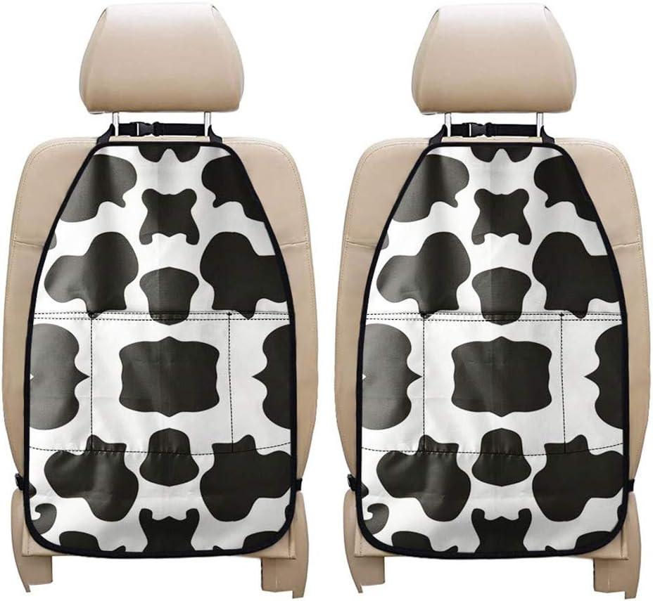 PZZ BEACH Cute White Cow Animal Print Car Seat Organizer, Auto Backseat Car Organizer Protector Kick Matsfor Kids, Stain-Resistant & Waterproof Car Seat Back Covers- 2 Packs Set