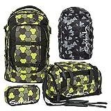 Satch PACK Jungle Flow 4er Set Schulrucksack + Schlamperbox + Sporttasche + Regencape schwarz