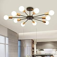 Ganeed Semi Flush Mount Ceiling Light,10-Light E27 Base Modern Black Sputnik Chandelier,Industrial Ceiling Lamp Fixture fo...