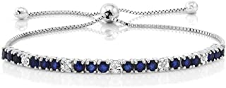 Sterling Silver Blue Sapphire and White Diamond Tennis...
