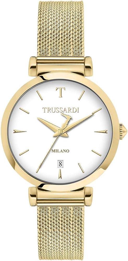 Trussardi,orologio per donna,in acciaio inossidabile placcato oro giallo R2453133503