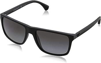 Emporio Armani Men's EA4033 Square Sunglasses, Black/Grey Rubber/Polarized Grey Gradient, 56 mm