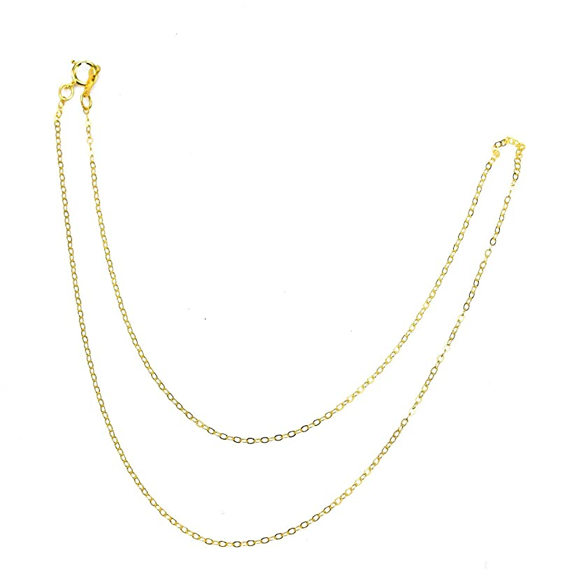 Monrocco 16 in 14K Gold Plated Solid Brass Cable Chain for Jewelry Making Jewelry Repair