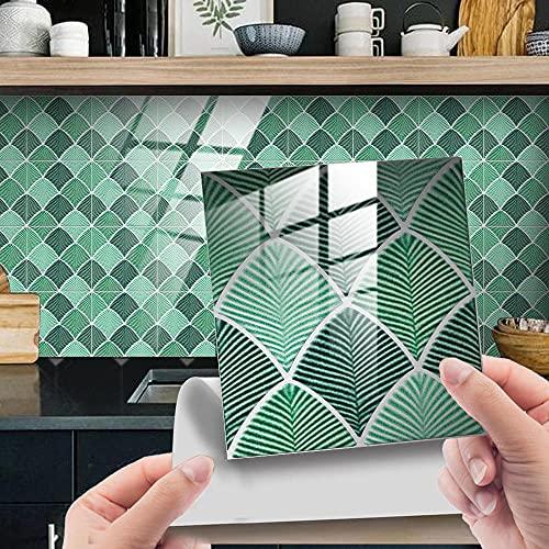 Azulejos Adhesivos Baño Cocina Hoja De Palma Verde 10 Vinilos Cocina Azulejos...