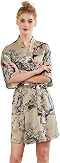 Womens Silky Satin Costume Bathrobe Soft Kimono Spa Robe Short Sleeve V-Neck Pajamas