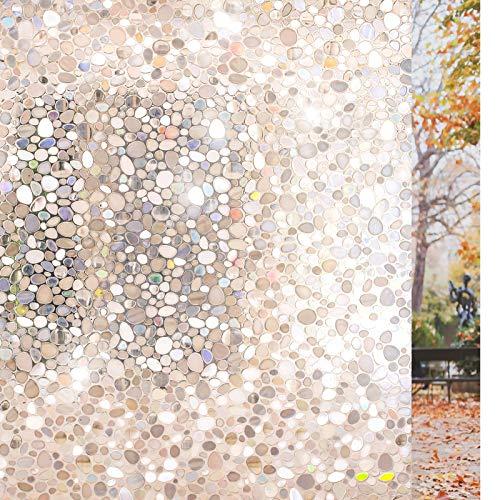 rabbitgoo Glass Window Film, Decorative Window Stickers, Privacy Window Clings, Static Cling Door Window Covering, Stained Glass Window Vinyl, Non Adhesive, Anti UV Pebble Pattern, 17.5 x 78.7 inches