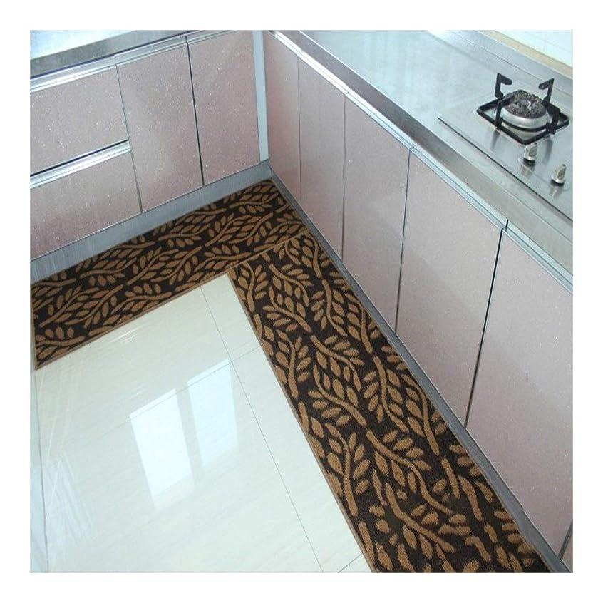 ファランクス側間違いなくマットラテックス滑り止め底を立ちエリアラグ滑り止めキッチンラグ家庭用コンフォート印刷カーペット (色 : ブラウン, サイズ : 50CMx220CM)