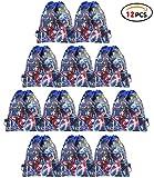 Qemsele Bolsa Mochilas Bolsas de cumpleañoscordón Dibujos Animados Mochila Bolsas para cumpleaños niños y Adultos la Fiesta favorece la Bolsa, Rellenos Bolsas Fiesta 12Pcs (Avengers, W10 * H12)