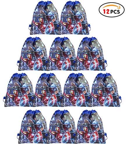 Qemsele Partytüten Mitgebsel Kindergeburtstag Gastgeschenke Tüten Tasche 12 Stück, Kordelzug Rucksack Bag Turnbeutel für Kinder Mädchen Frauen Kindergeburtstag, Geburtstagsfeier (Avengers)