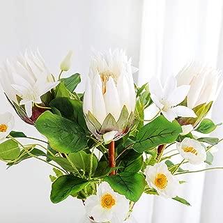 GAIGAI Artificial Flowers, Plastic Fake Protea cynaroides Bridal Bouquet for Room, Home Decoration, Kitchen Garden Wedding Party Décor, 4 Color, Set of 6 (Color : White)