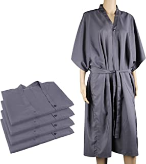 4packs Kimono Robes, Segbeauty 43 inches Long Lightweight Silky SPA Massage Robe, Smock Cape Dress Client Uniform Lab Gown for Beauty Salon Hair Makeup - Grey