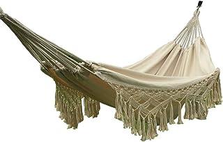 comprar comparacion HI SUYI - Hamaca para balcón, hecha a mano, de algodón, con flecos de crochet, para patio, jardín, exterior e interior, es...