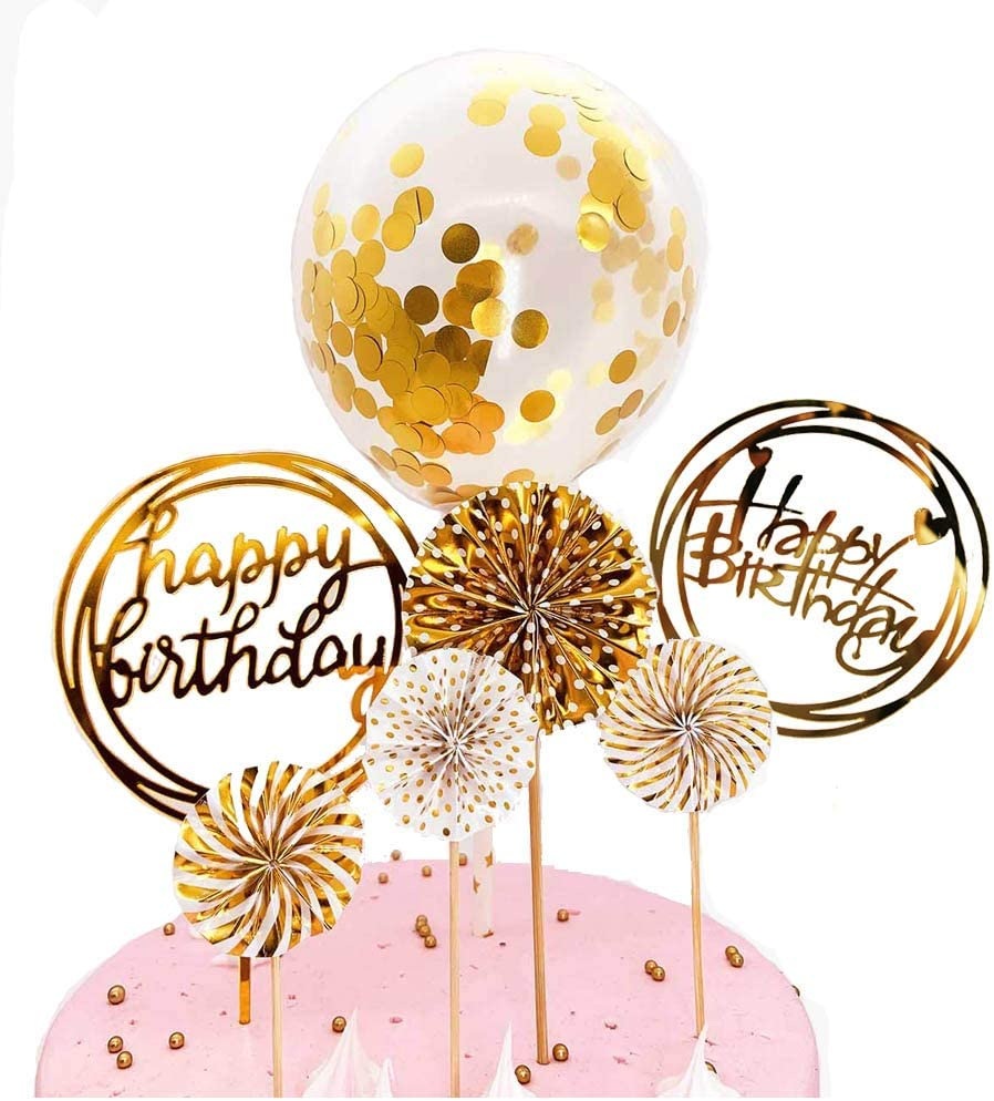 DeMissir Happy Birthday Cake Toppers, A Series of Golden Paper Fans, 2 Acrylic Round Happy Birthday Golden Cupcake Topper, Confetti Balloon Birthday Cake Supplies Decorations Set-Golden