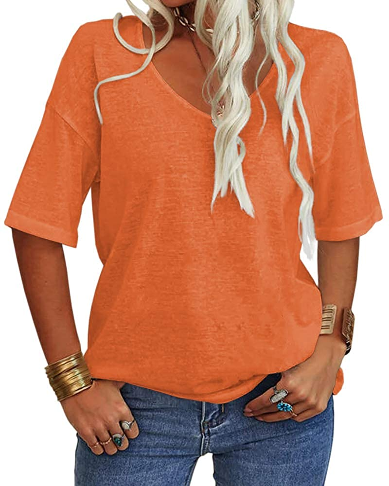 Danedvi Women Fashion V-Neck Half Sleeves L Discount mail order Selling and selling T Solid Shirt Casual